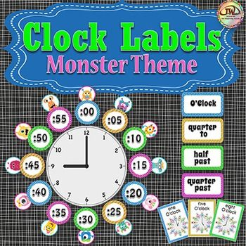 This set of monster clock labels look fantastic and will help your students get familiar with telling time, analog clocks, the quarter hour, and what each five minute increment means.  Dashed lines make cutting the labels out easy.  Also included are matching clock reference cards, with time to the hour.