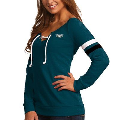 Philadelphia Eagles Antigua Women's Foxy Lace-Up Sweatshirt – Midnight Green