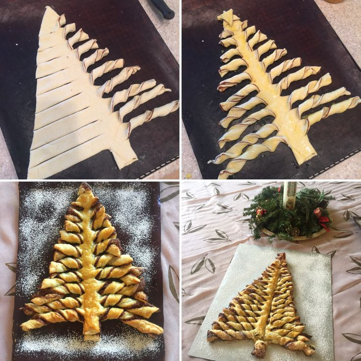 "Puff pastry Christmas trees. Roll out 2 rectangle puff pastry sheets, spread one with Nutella and cut out tree shape. Use two cut off triangles to form a second tree. Cut and twist ""branches"" as shown. Bake at 180 C (350 F) for 20 Minutes or so. Super easy and quick.... and oh so yummy!"