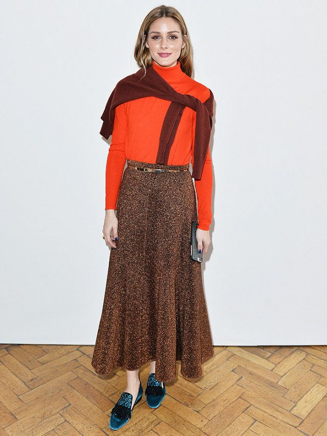 Sweater Scarf Trend: Olivia Palermo at LFW wearing Pringle