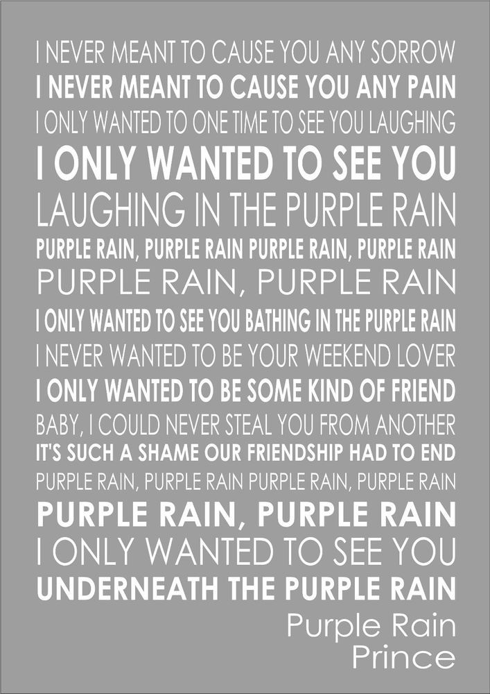 Prince Purple Rain - Lyrics Song Verse Print Canvas Word Wall Art Typography