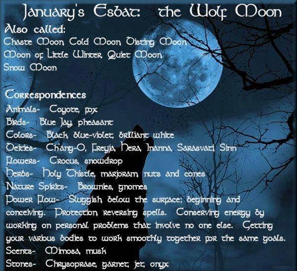 January's Esbat: the wolf moon