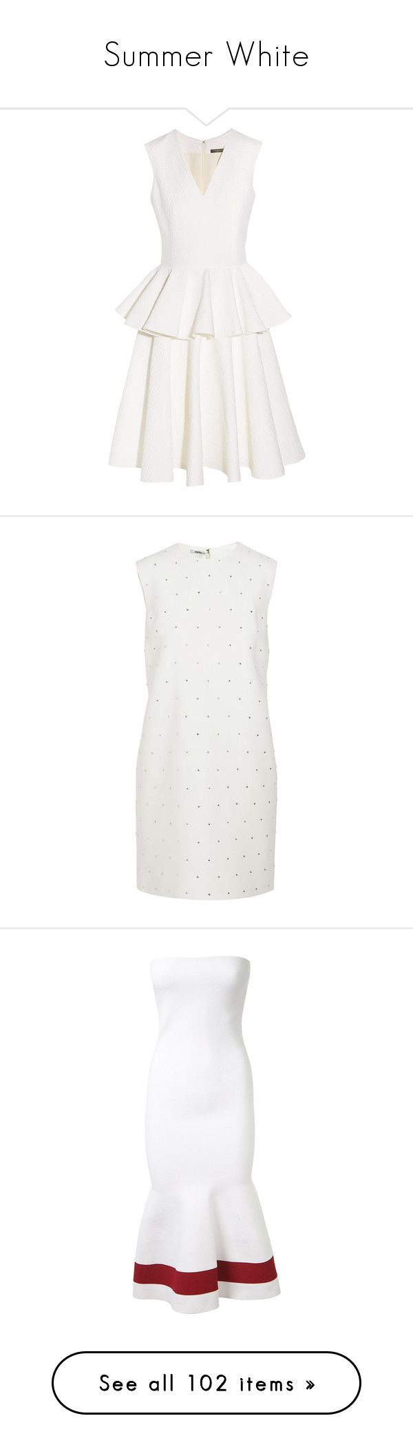 """""""Summer White"""" by belinda-1 ❤ liked on Polyvore featuring dresses, alexander mcqueen, short dresses, fit flare dress, night out dresses, going out dresses, white going out dresses, fit and flare party dress, miu miu and white"""