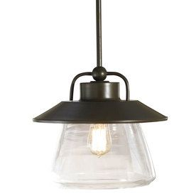 allen + roth Bristow 12-in W Mission Bronze Pendant Light with Clear Glass Shade