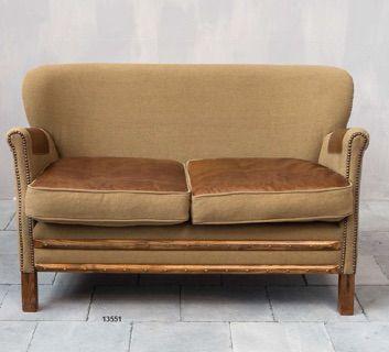 Divano due posti cuoio e tessuto - Sofa http://www.griffegenova.com/Griffe_Home/Divani_pint_new.html