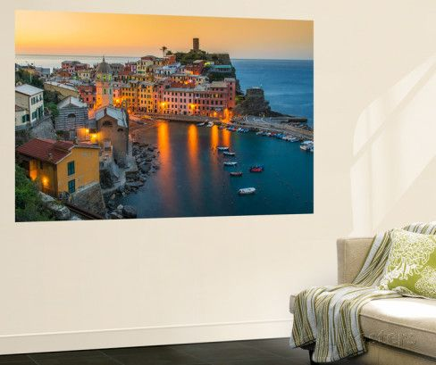 Top View at Sunrise of the Picturesque Sea Village of Vernazza, Cinque Terre, Liguria, Italy Wall Mural by Stefano Politi Markovina at AllPosters.com