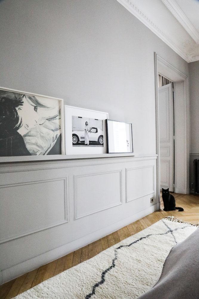 Chambre parentale Couloir couleur grise Tapis Berbère Photographies d'art Marianne Fersing Appartement Paris