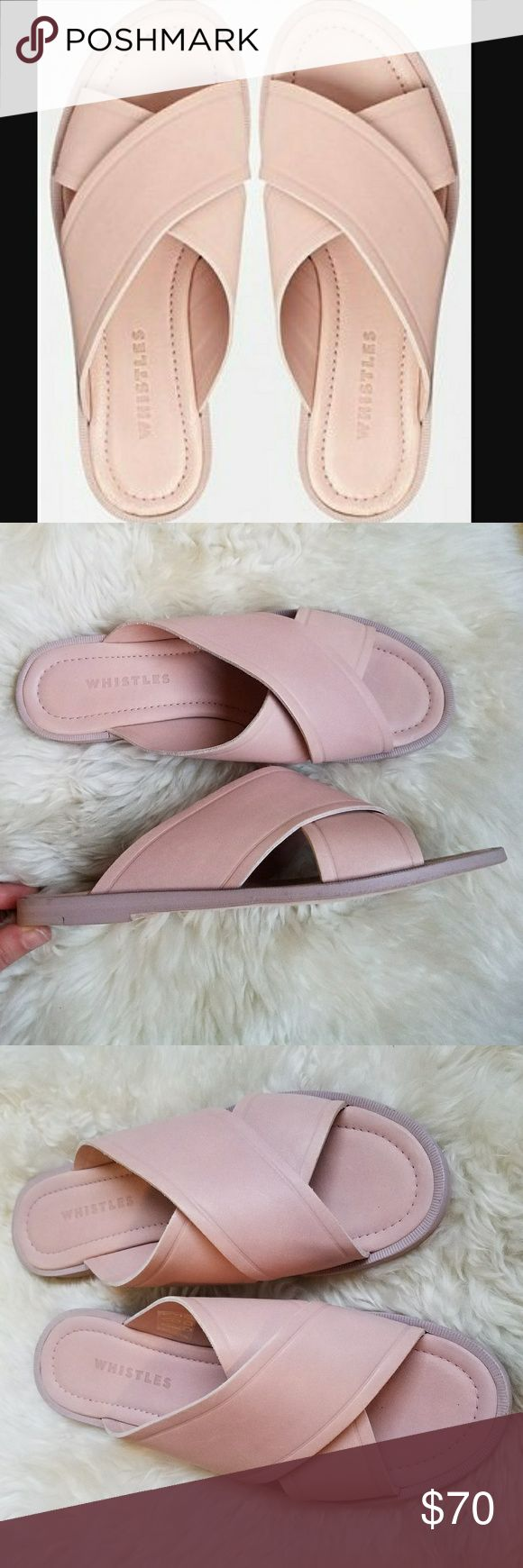 Whistles Bobbi Cross Vamp Sandal in Pale Pink Genuine Leather. NWOB. Lovely pink color! Size 40, run about a half size to a size small. Whistles Shoes Sandals