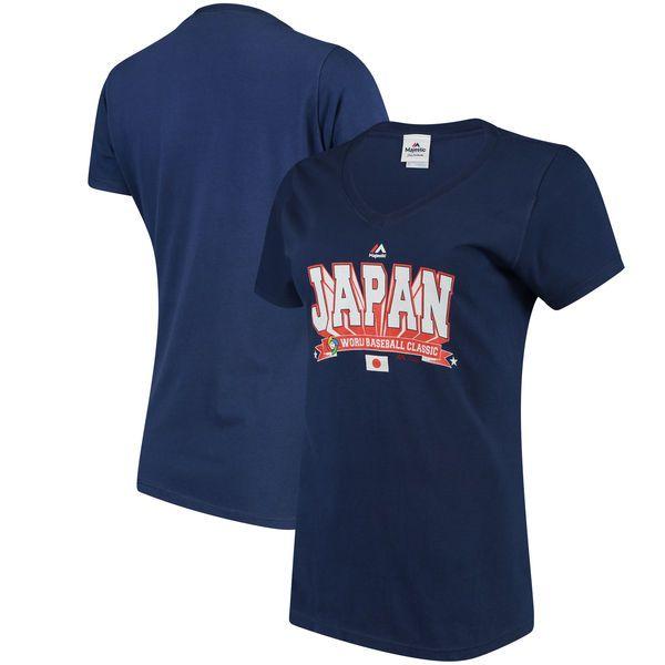 Japan Baseball Majestic Women's 2017 World Baseball Classic World Wide Leader V-Neck T-Shirt - Navy - $15.99