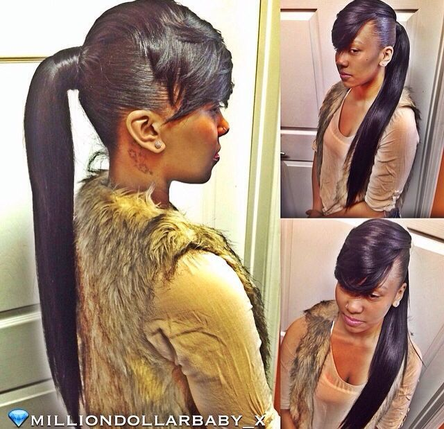 Sleek ponytail extension with a side bang  @Foreign Beauty  #ponytailwithbang #ponytail