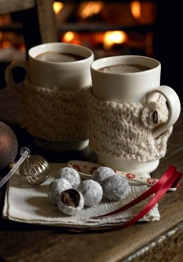 Cozy knitted mug sleeves