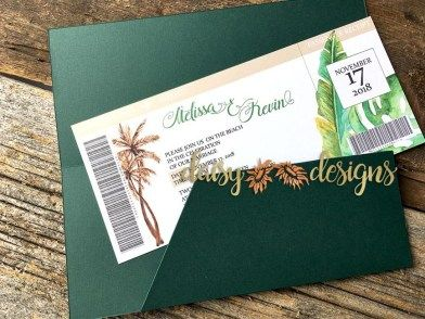 Ticket to Paradise anyone? This unique tropical wedding invitation Travel Ticket is the perfect way to let your guests know they are in for a fantastic getaway!  #destinationwedding #travelticket #destinationinvitation #tropicalparadise #tropicalinvitation #boardingpassinvite