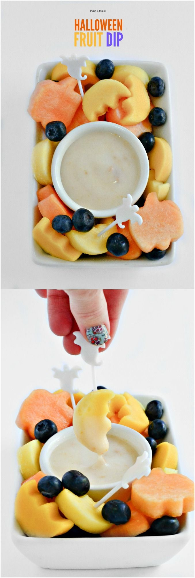 Fruit, cut up in Halloween-inspired shapes, dipped into a #vegan coconut yogurt and peanut butter dip. #Halloween doesn't get any easier than this!