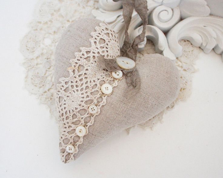 linen and vintage lace sachet by bailiwick designs