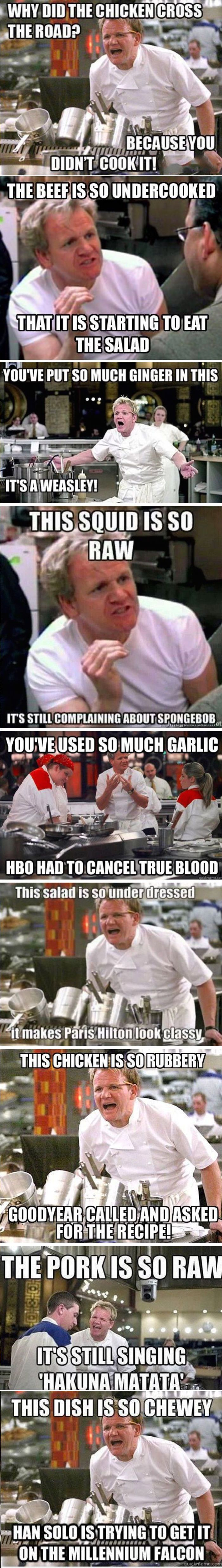 """Gordon Ramsey's Angriest Moments My fave is """"it as so much ginger it's a Weasley!"""" Lol"""