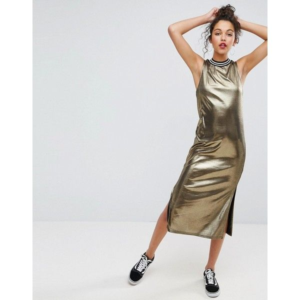 ASOS Metallic Gold Midi Dress With Sports Trim ($34) ❤ liked on Polyvore featuring dresses, gold, sleeveless dress, metallic prom dress, night out dresses, midi party dresses and prom dresses