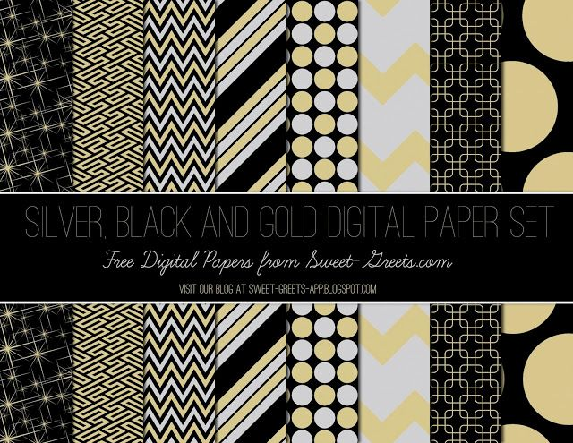 Free Silver, Black and Gold Digital Paper Set