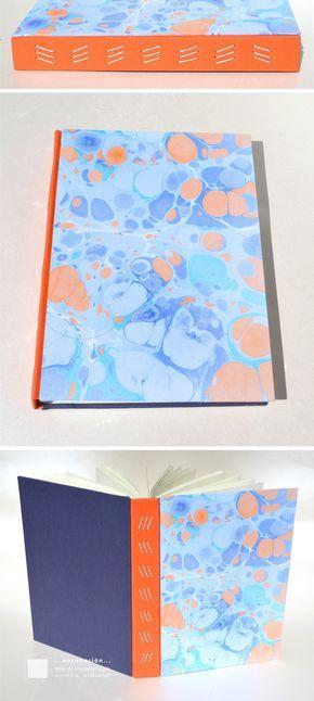 Nuevas serie de encuadernaciones con costuras expuestas y papeles marmolados Encuadernaciones tapas montadas con costura expuesta, todas costuras diferentes– Tapas duras de cartón de 2mm – Cubier…
