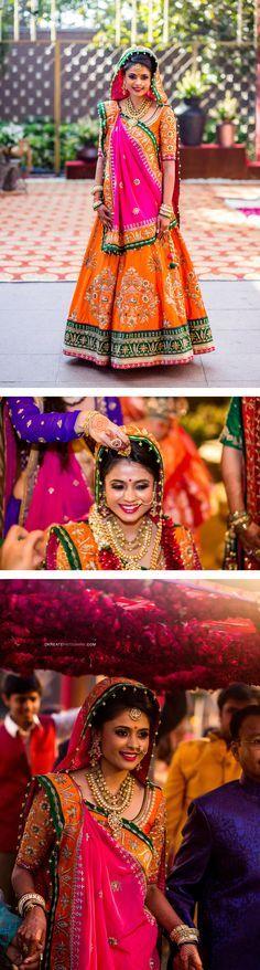 Fresh bridal look | Unusual color bridal lehenga | Pink lehenga | Orange indian wedding lehenga | nose ring | Rajasthani look | #wedmegood