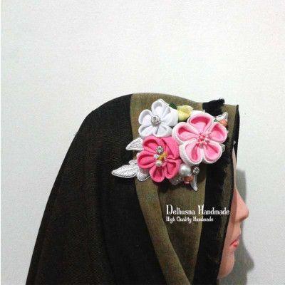 Kanzashi Bridal Headpiece - Hijab Acessories  please visit www.delhusnashop.com