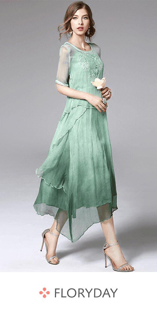 502399214f0 Solid short sleeve midi dress