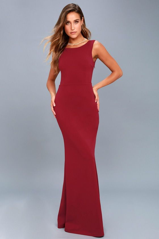 0e4be1d9a3 Call My Name Wine Red Backless Maxi Dress