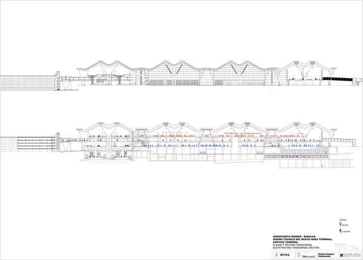 Elevation and cross section. T4 Madrid Barajas Airport by Rogers Stirk Harbour + Partners and Estudio Lamela.