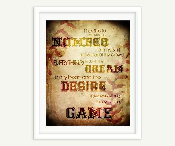 Typography Print Word Art Baseball Quote by LilDreamerCreative