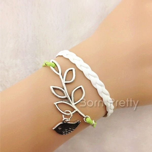 $0.99 1Pc Fresh Bracelet Double-colored Strap Leaves Bird Design Bracelet - BornPrettyStore.com