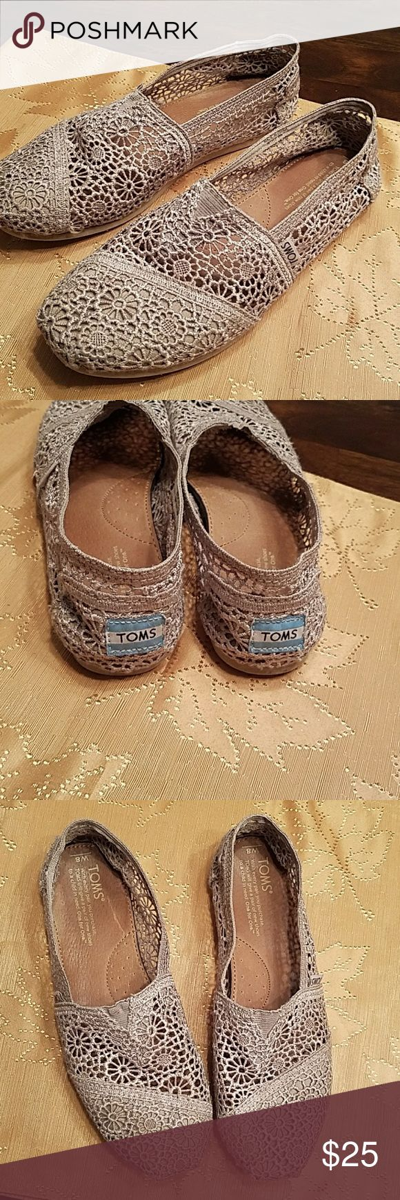 Toms. Beige crochet Adorable with any outfit. Beige/tan toms. Crochet only worn a few times. Toms Shoes Flats & Loafers