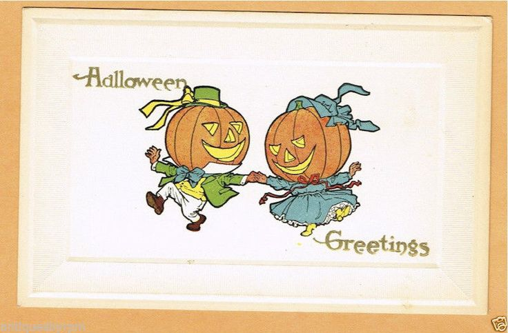 VINTAGE HALLOWEEN PC GIBSON ART, MALE AND FEMALE DRESSED PUMPKINS DANCE EX.