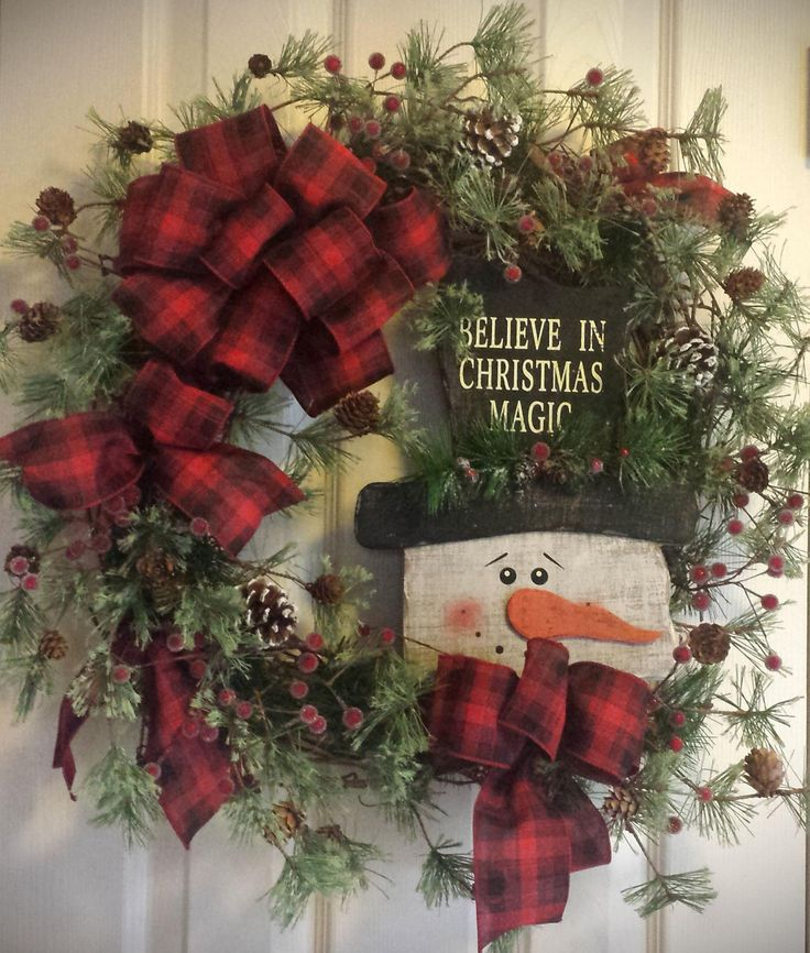 Snowman Christmas Wreath Snowman Wreath by ShabbyBrookCottage