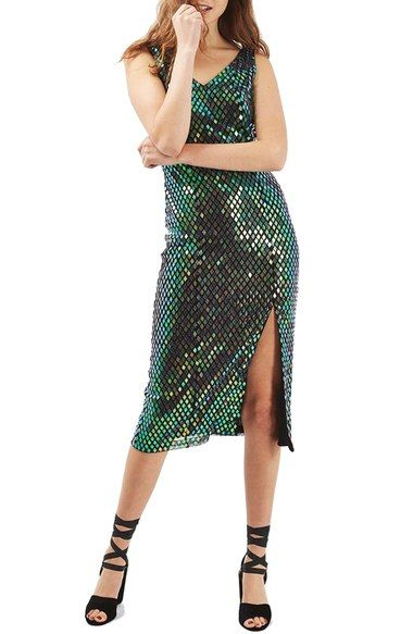 Topshop Halographic Sequin Midi Dress available at #Nordstrom