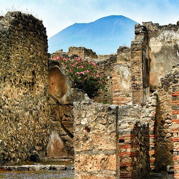 Mount Vesuvius looms over the ruins of Pompeii