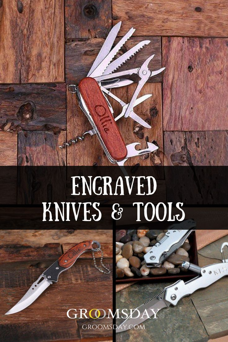Our custom pocket knives & tools are sharp, sexy, sleek and tough as nails. It's the perfect groomsmen gift to show your groomsmen that you appreciate them with a personalized pocket knife or tool. Share & repin!  Only from Groomsday | Groomsday.com #pocketknives #tools #groom #groomsmen #groomsmengifts #personalizedgifts #giftsformen #bestman