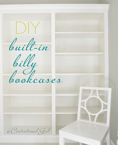 """DIY Ikea Billy Bookcases turned into """"built-in"""" bookcases... I need this done to my living room!  ...and set up as a pantry in the kitchen... and a bookcase in the bedroom... and..."""