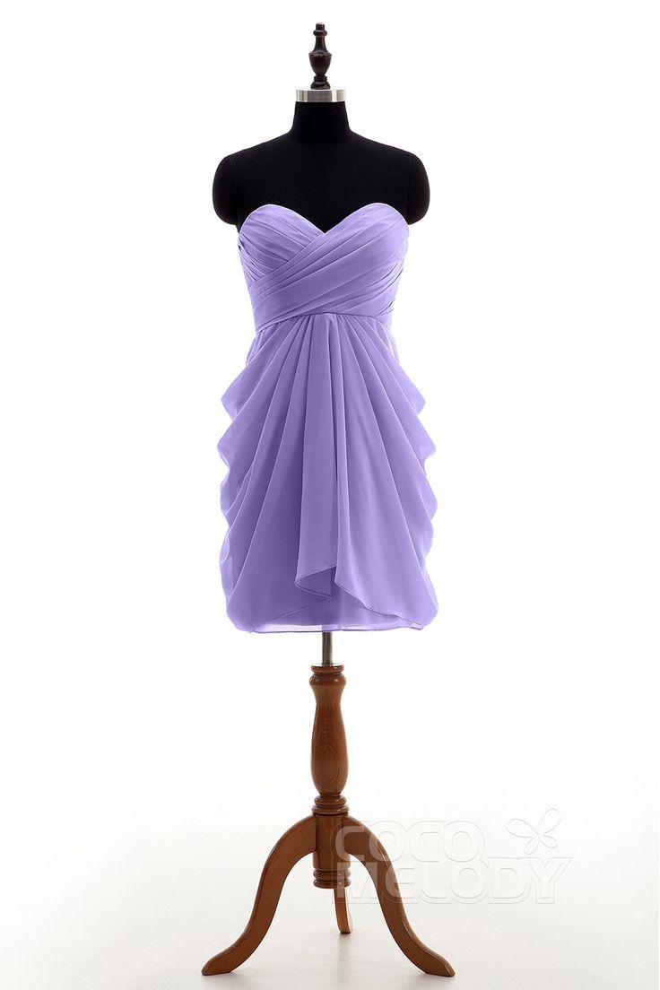 Dreamy+Sheath-Column+Sweetheart+Natural+Knee+Length+Chiffon+Sleeveless+Zipper+Bridesmaid+Dress+Pleating+NB2746