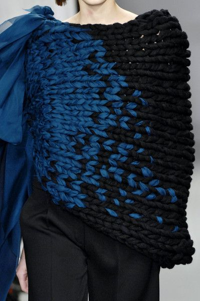 Textiles for Fashion - knitwear design with two-tone surface pattern & fabric accent; chunky knits