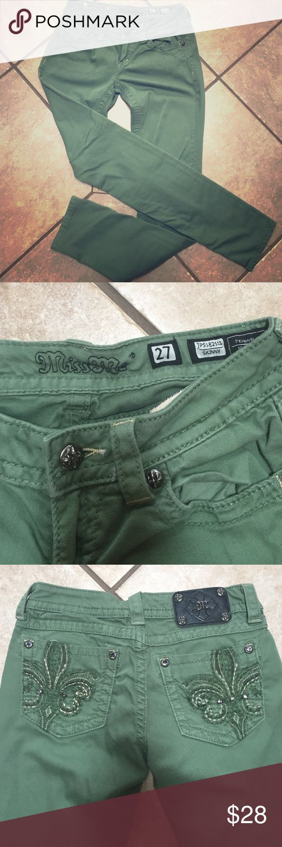"Embellished Miss Me brand skinny pants Miss me brand skinny jeans in a beautiful green color...perfect for spring. 27"" waist. Only worn a handful of times, so they are in perfect condition! Miss Me Pants Skinny"