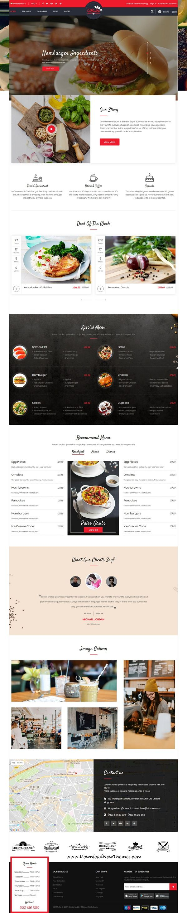Multe is clean and modern design 3in1 responsive Magento 2 theme for delicious #food #restaurant and #cafe website to live preview & download click on Visit  #webdesigninspiration