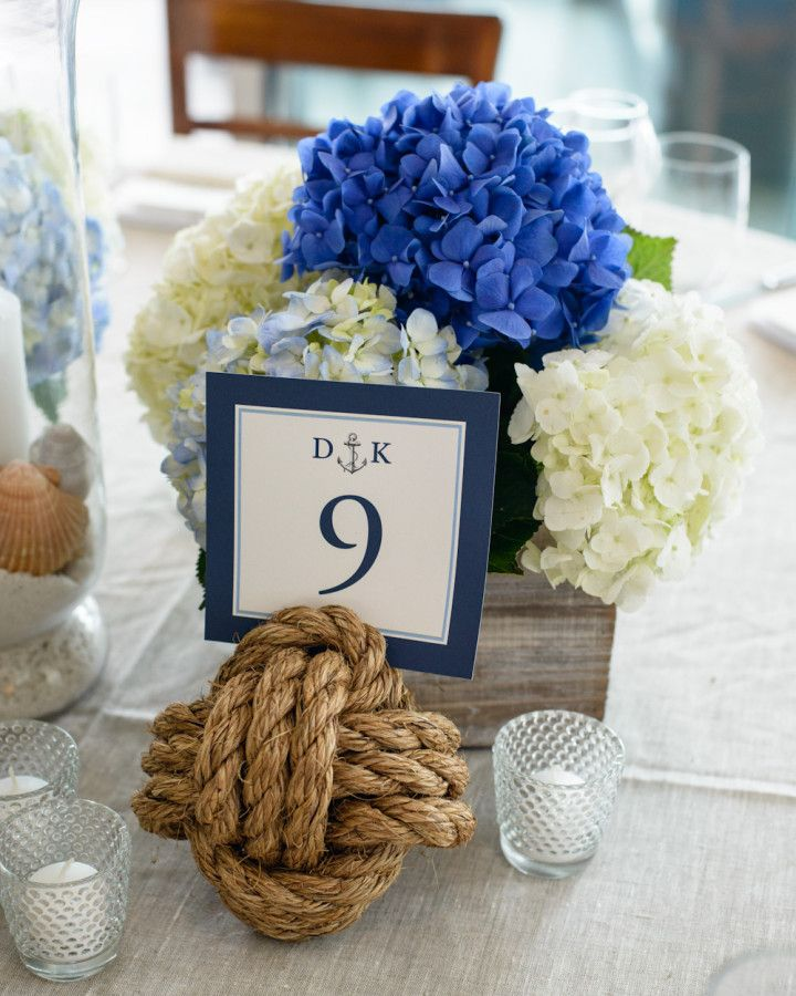 Nautical Hamptons Wedding from Amaranth Photography - beach wedding centerpiece idea
