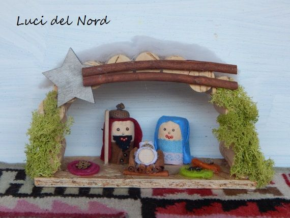 """NATIVITA' """"PRESEPE ETNICO"""" riciclato - decorazione per Natale - Capanna di Gesù bambino - Home Decor"""