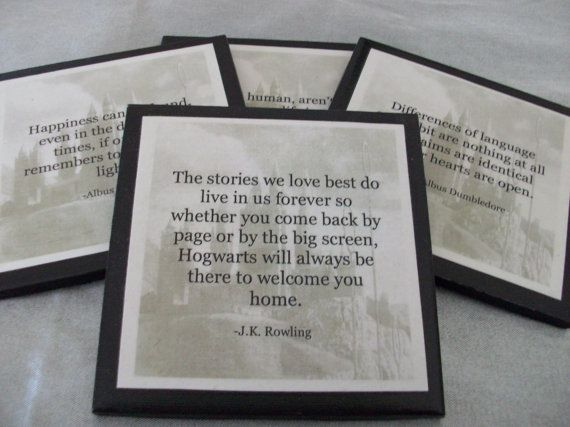 Harry Potter Coasters - Set of 4: Harry Potter Quotes with Hogwarts Castle as Background on Etsy, $16.00