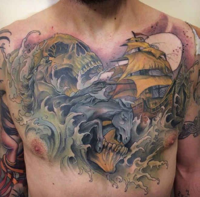 17 best images about chest tattoos on pinterest best chest tattoos skull tattoos and. Black Bedroom Furniture Sets. Home Design Ideas