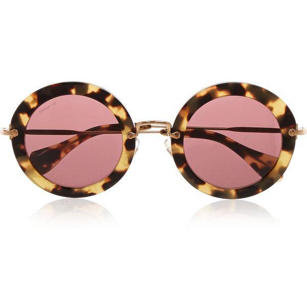 Miu Miu Round-frame acetate sunglasses ($300) ❤ liked on Polyvore featuring accessories, eyewear, sunglasses, glasses, occhiali, sunnies, tortoiseshell, acetate sunglasses, round lens sunglasses and uv protection sunglasses