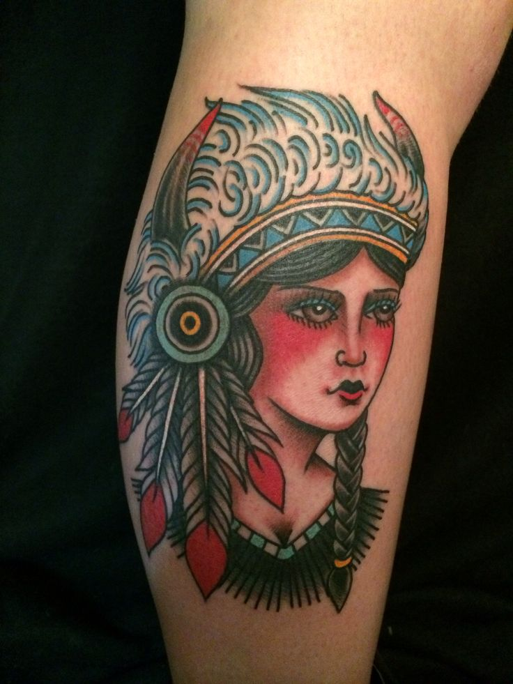 Traditional native girl tattoo images for Girl head tattoo