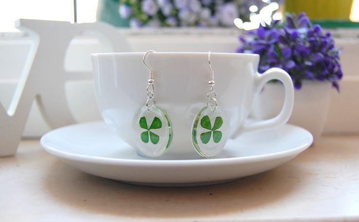 beautiful  resin earrings with small leaf clover.  hand made!!!