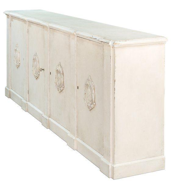 Italian Emblem White Pine Sideboard with Adjustable Shelves