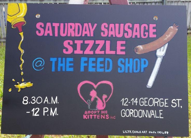 Hanging Chalk Art Blackboard Sign advertising Saturday Sausage Sizzles