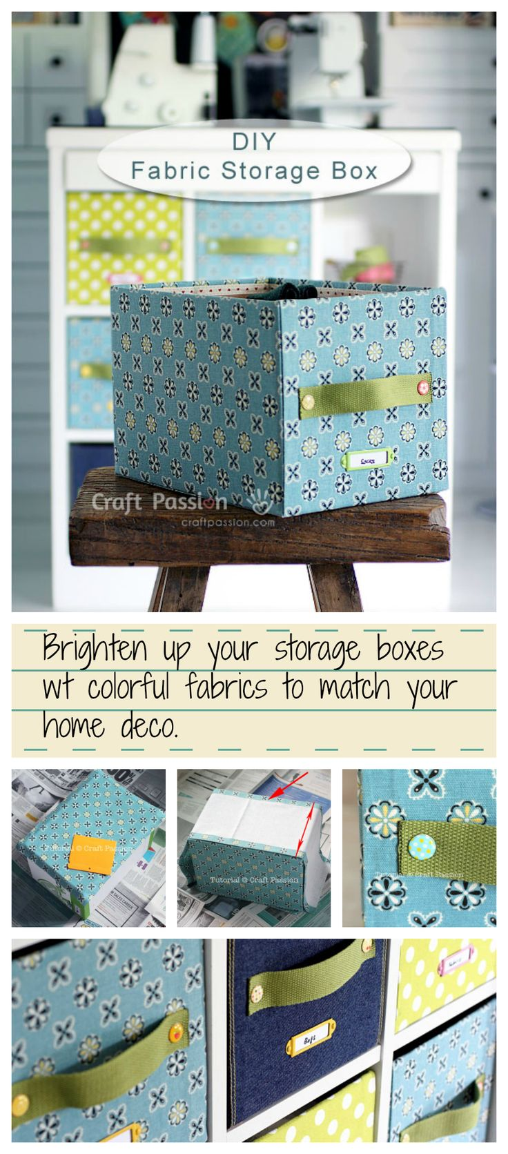 A detail tutorial on how to DIY fabric Storage Box by using carton box & fabric. Brighten up your storage boxes wt colorful fabrics to match your home deco.